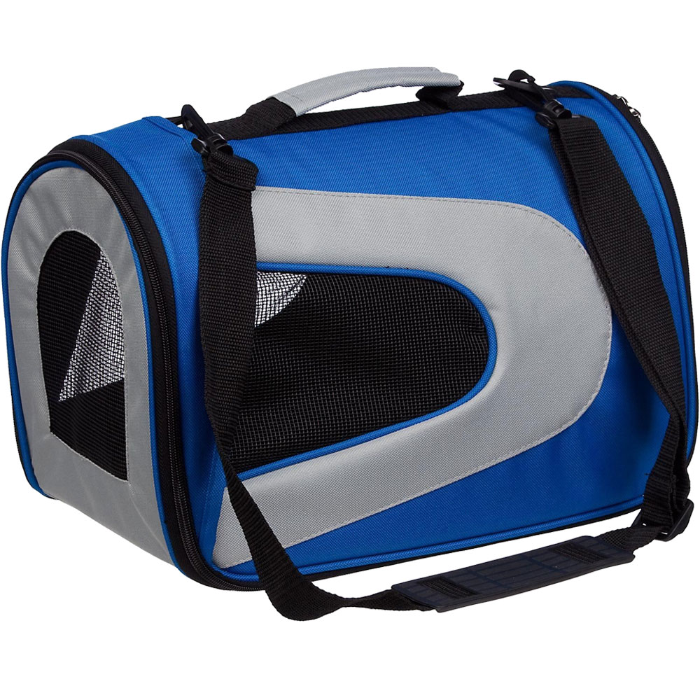 Airline Approved Folding Zippered Sporty Mesh Pet Carrier - Blue & Grey (Large)