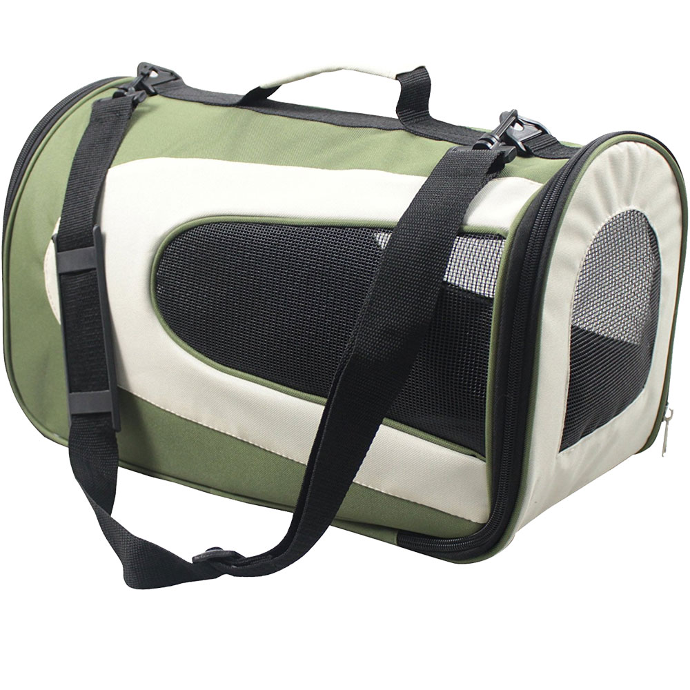 Airline Approved Folding Zippered Sporty Mesh Pet Carrier - Green & Khaki (Large)
