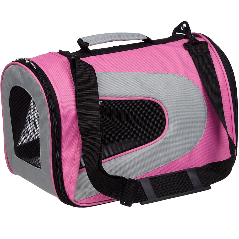 Airline Approved Folding Zippered Sporty Mesh Pet Carrier - Pink & Cream (Medium)