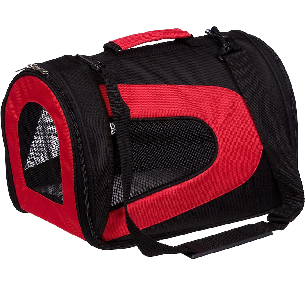 Airline Approved Folding Zippered Sporty Mesh Pet Carrier - Red & Black (Medium)