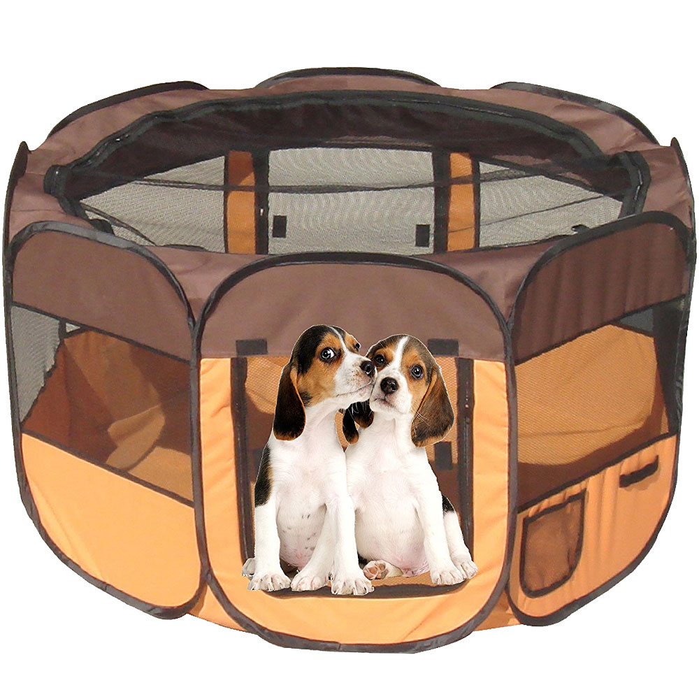 All-Terrain Lightweight Easy Folding Wire-Framed Collapsible Travel Pet Playpen - Brown & Orange (Large)