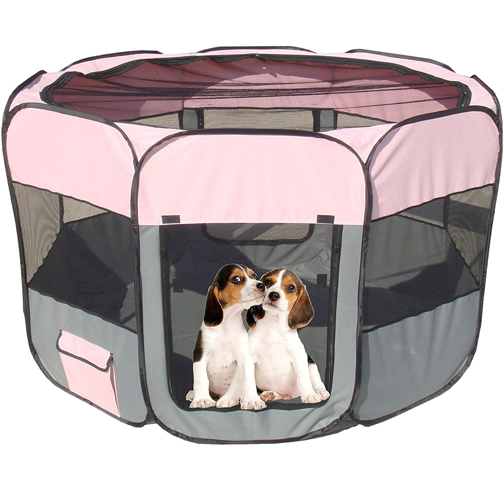 All-Terrain Lightweight Easy Folding Wire-Framed Collapsible Travel Pet Playpen - Pink & Grey (Large)
