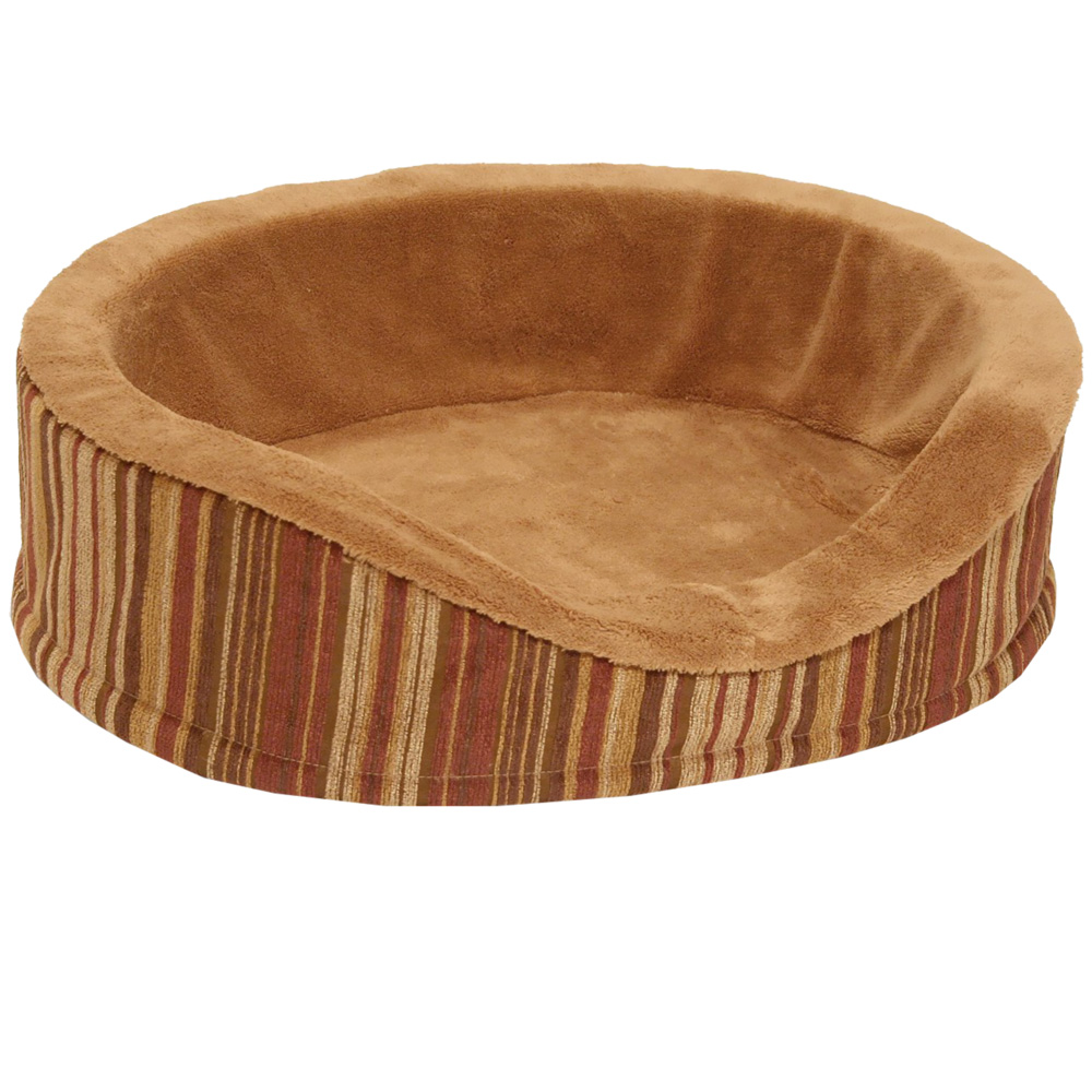 "Aspen Pet Antimicrobial Deluxe Oval (18"") - Caramel/Stripe Chenille"