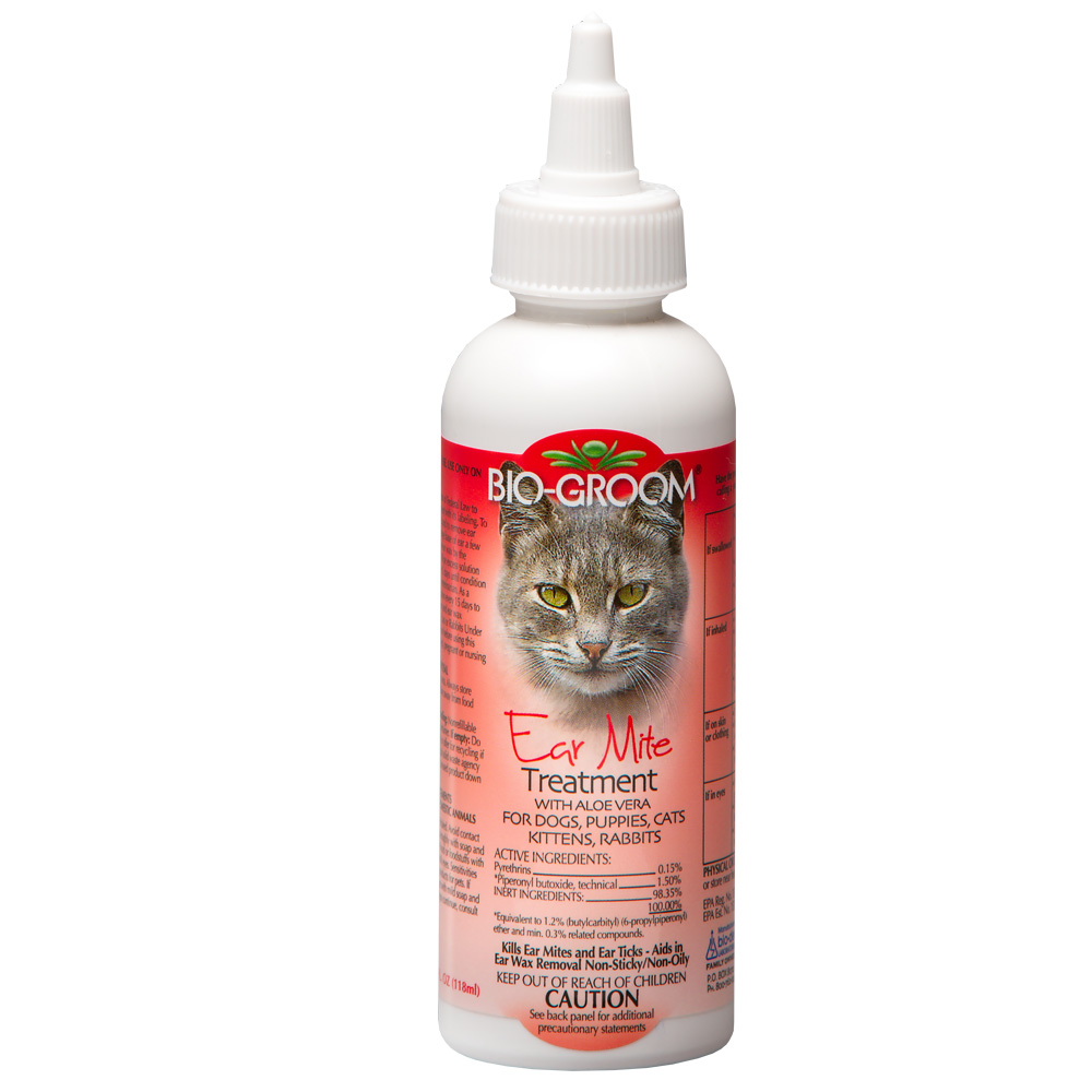 Treating your cat's case of ear mites is a three-step process. The first step is to get as many tiny critters out of the ear canal as possible by cleaning the ear. The first step is to get as many tiny critters out of the ear canal as possible by cleaning the ear.
