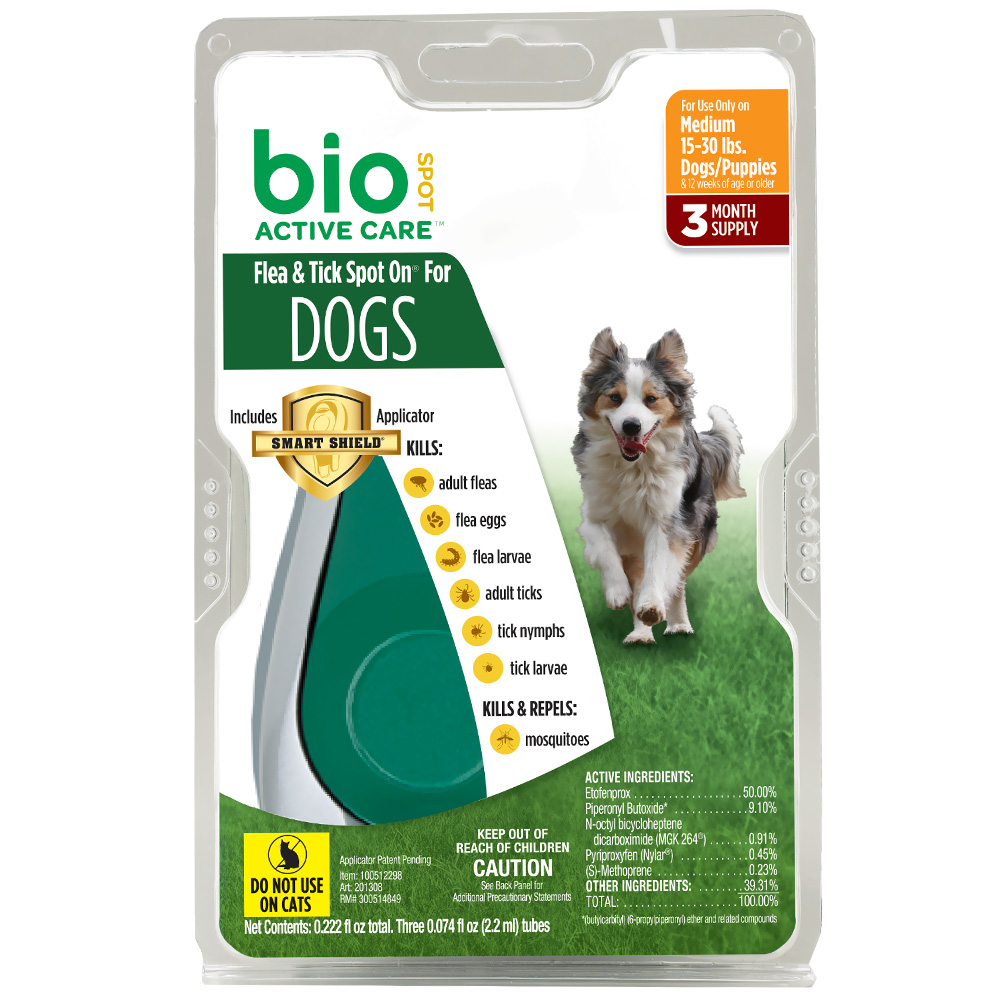 Bio Spot Active Care Flea & Tick Spot On for Medium Dogs (15-30 lbs) - 3 Months