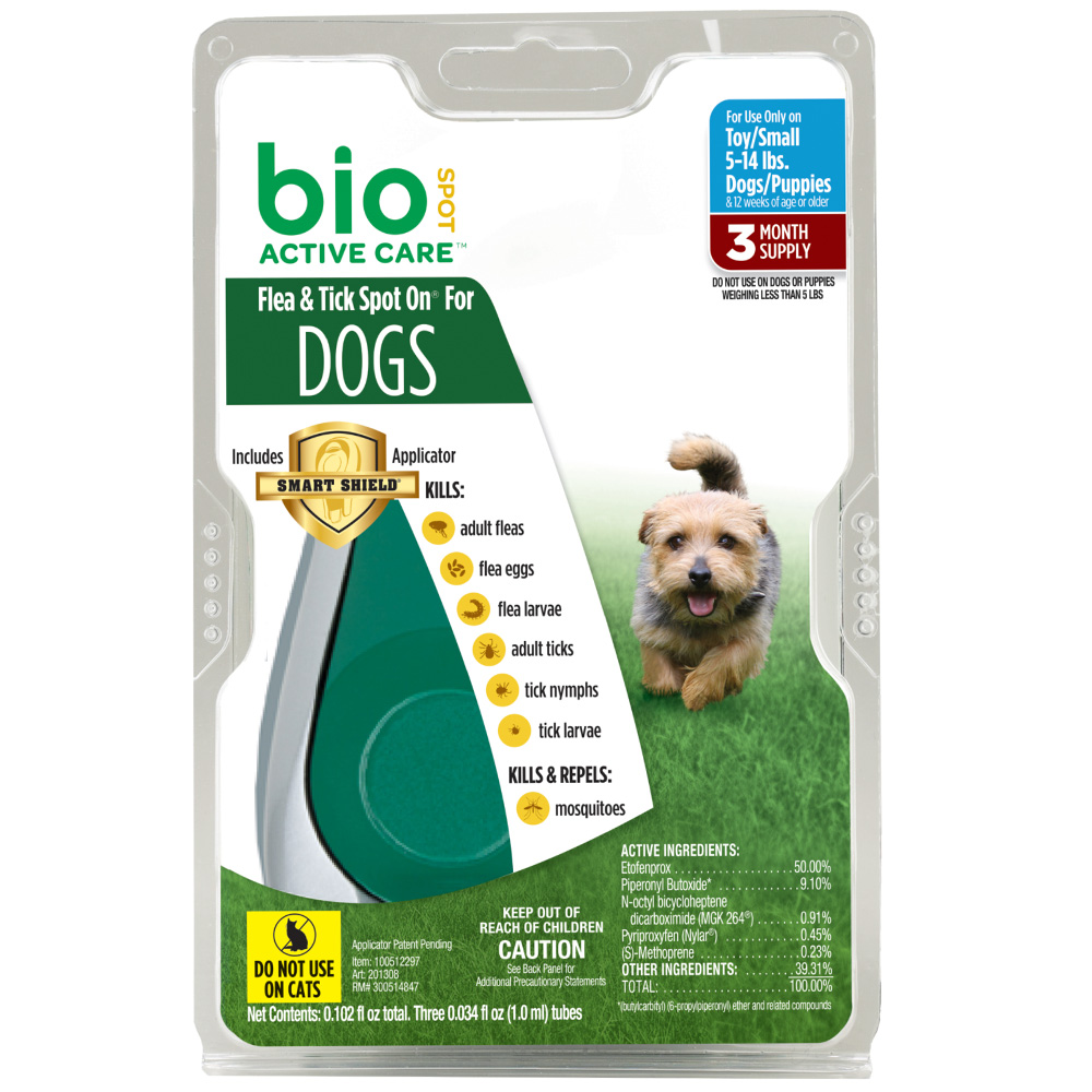 Bio Spot Active Care Flea & Tick Spot On for Small Dogs (5-14 lbs) - 3 Months