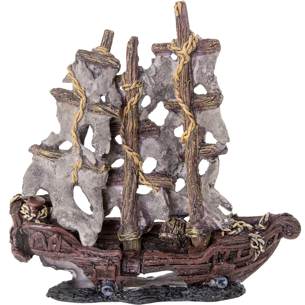 "BioBubble Decorative Mystery Pirate Ship - Small (9.5"" x 4"" x 4.75"")"