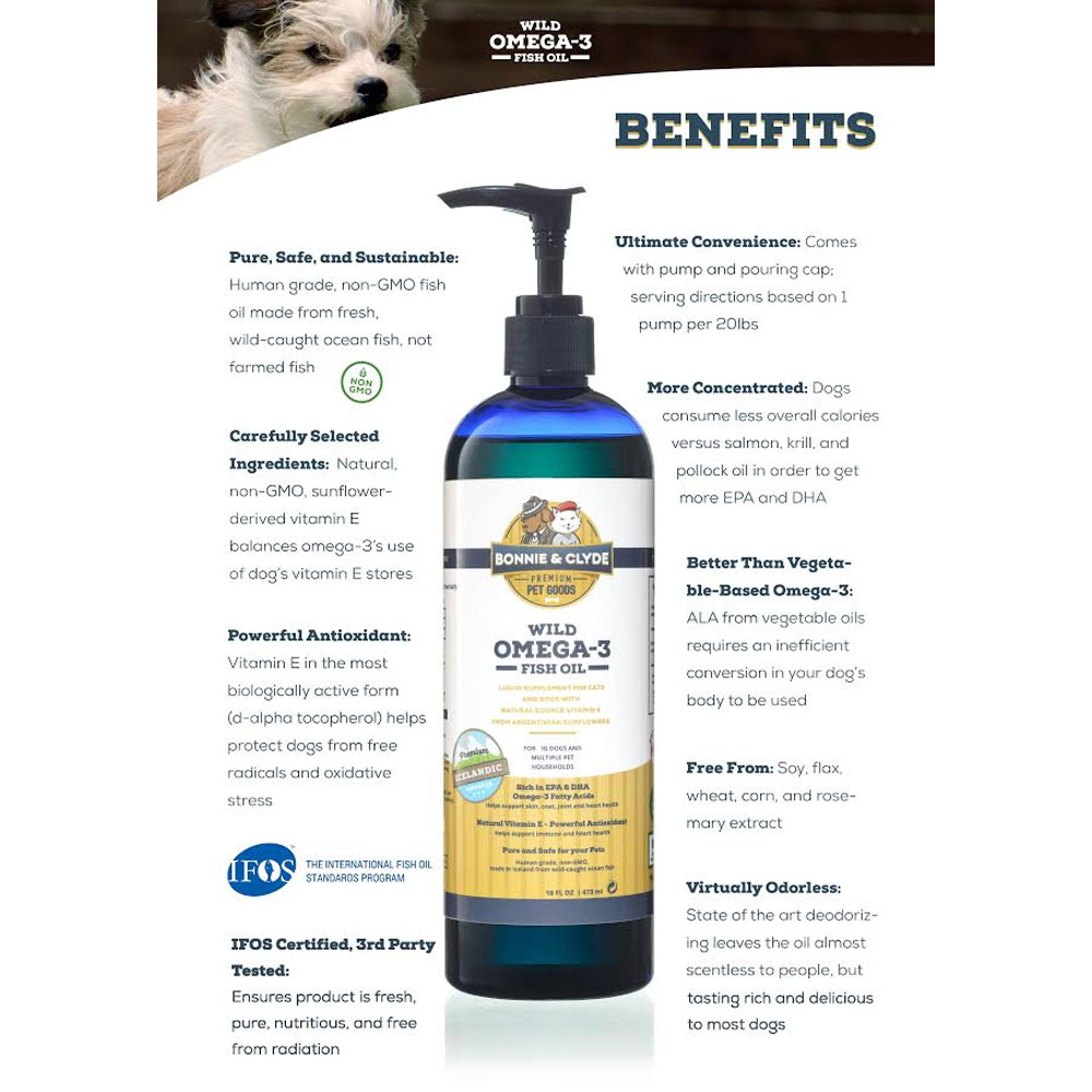Bonnie clyde wild omega 3 fish oil for dogs and cats 16 for Bonnie and clyde fish oil