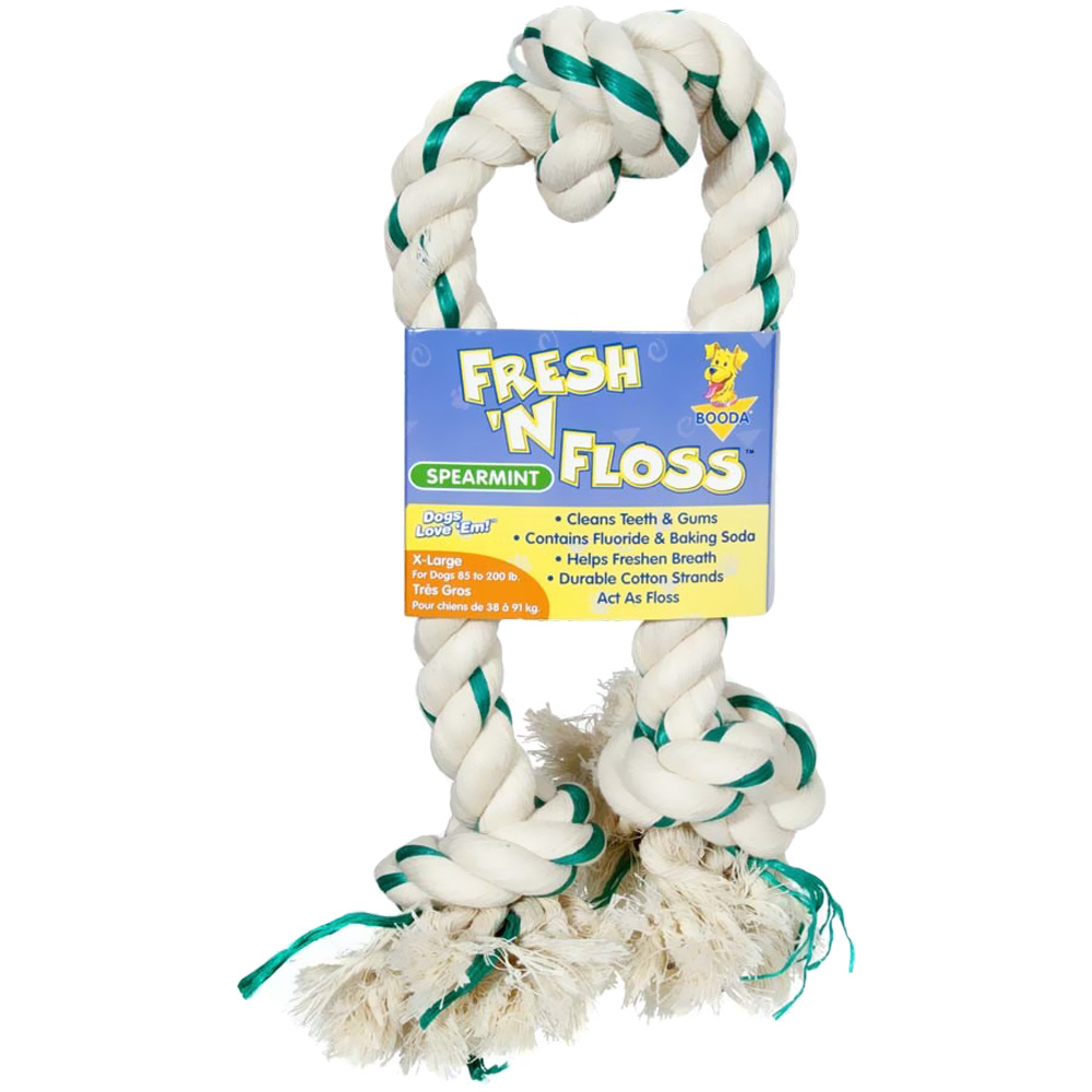 Booda Fresh N Floss 3 Knot Tug Bone XLarge - Spearmint