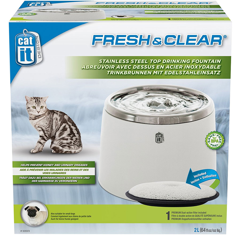 Catit Fresh and Clear Stainless Steel Drinking Fountain for Cats