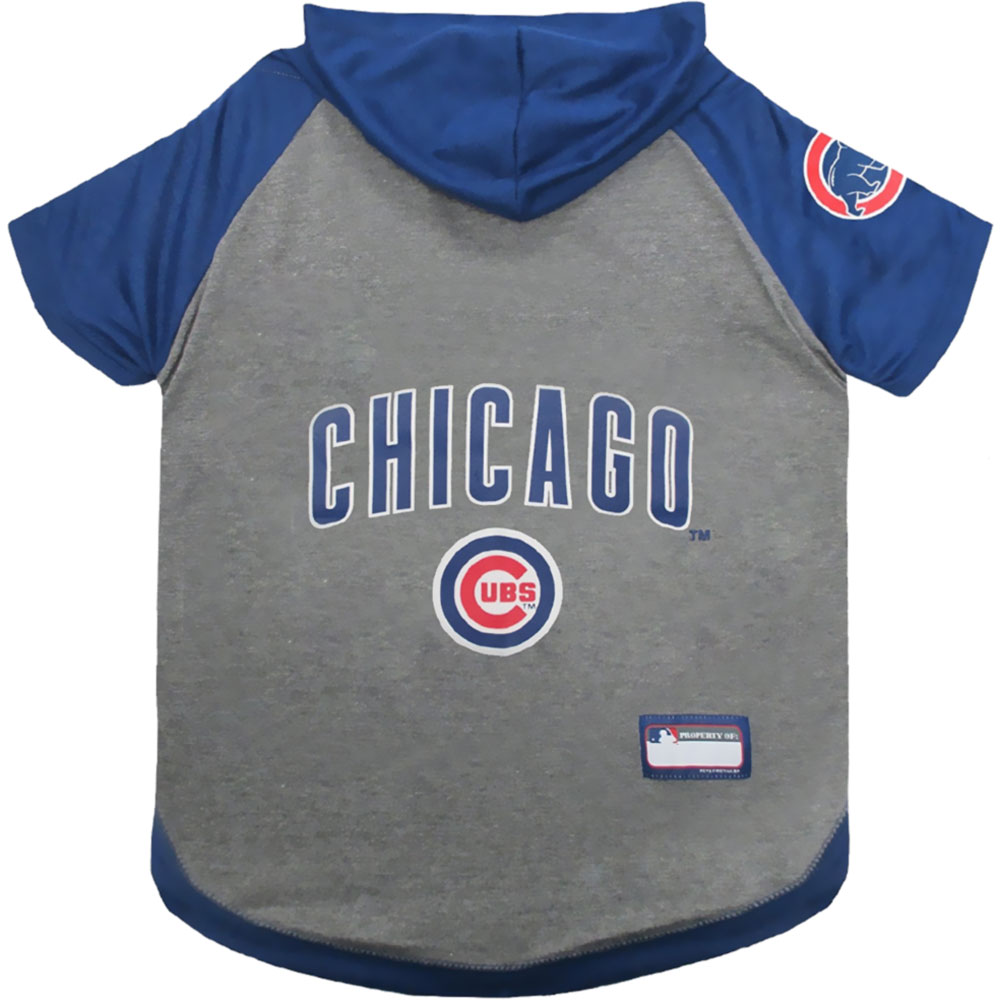 Chicago Cubs Dog Hoody Tee Shirt - XSmall
