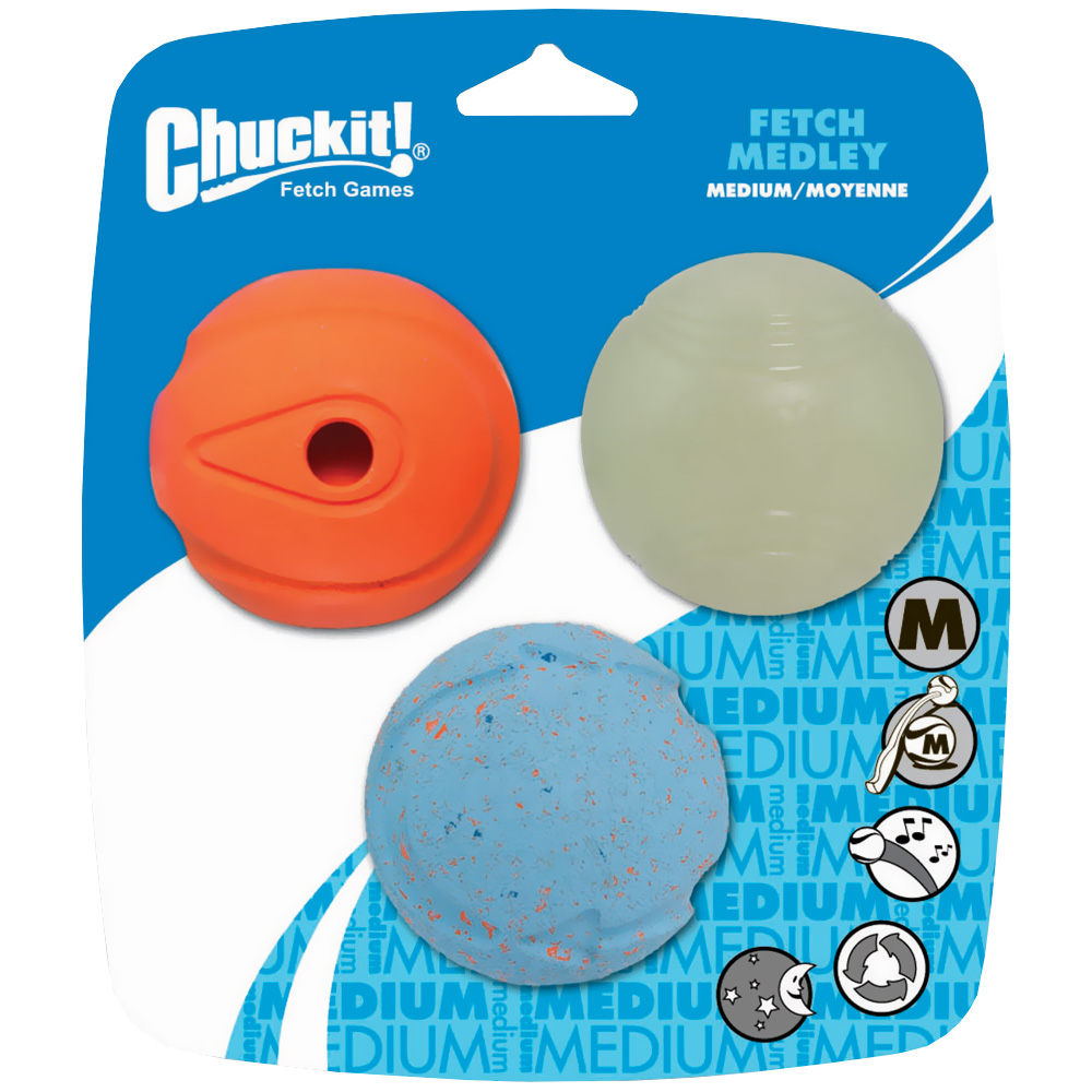 Chuckit! Fetch Medley Ball - Medium (3 pack)