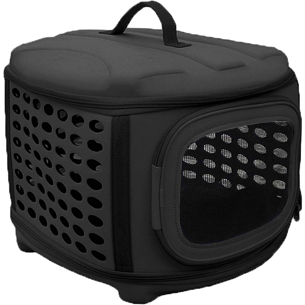 Circular Shelled Perforate Lightweight Collapsible Military Grade Transporter Pet Carrier - Charcoal Black