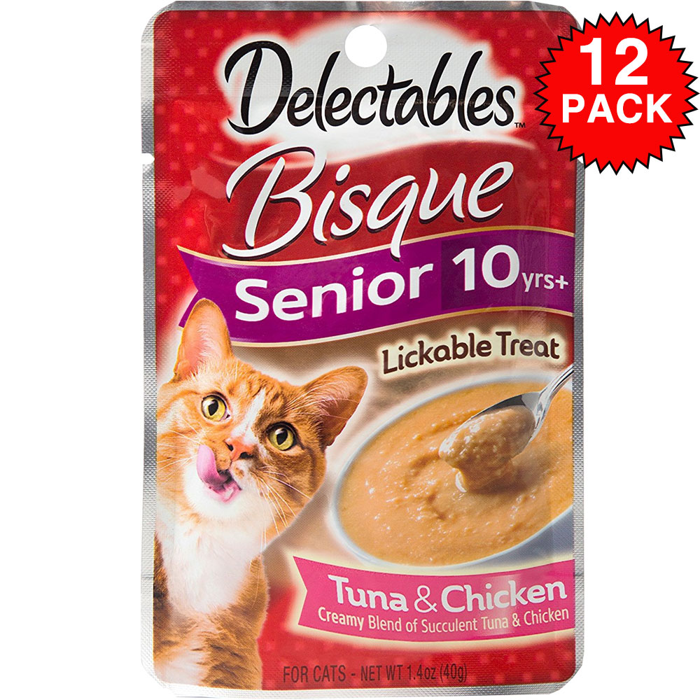 Delectables Bisque Lickable Treat for Senior Cats - Tuna & Chicken (Box of 12)