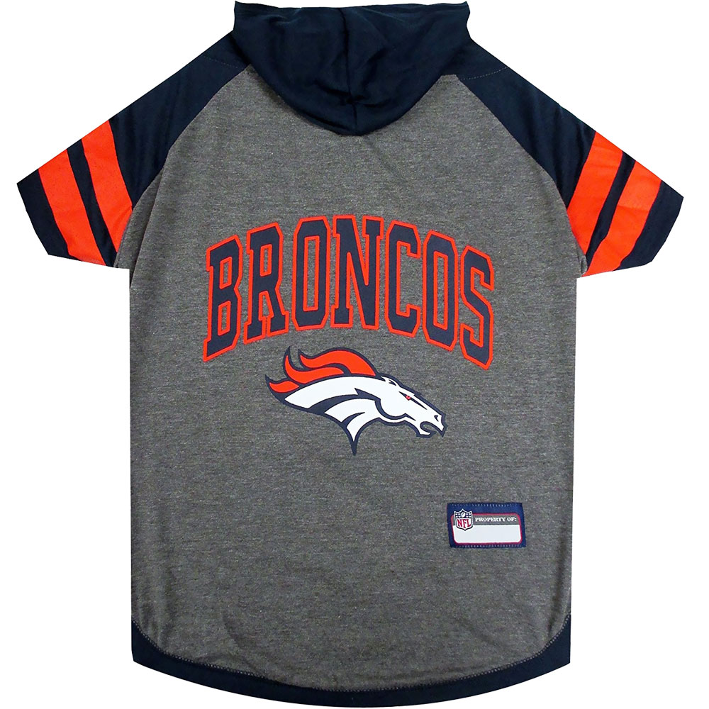Denver Broncos Hoody Dog Tee Shirt - Large