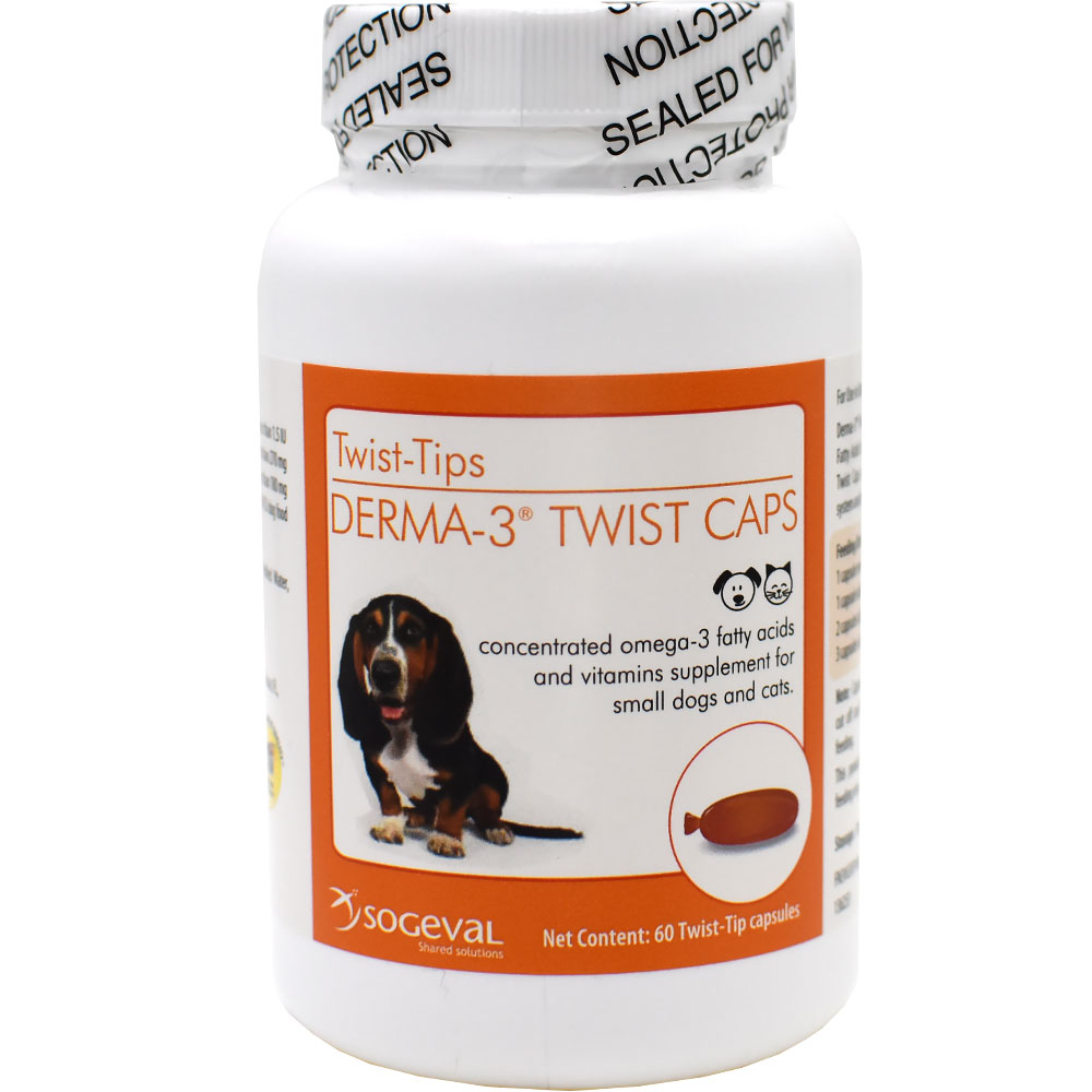 Derma-3 Twist Caps for Small Dogs & Cats (60 Twist-Tips Capsules)
