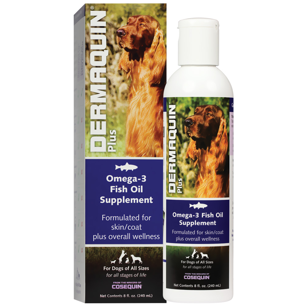 Dermaquin plus omega 3 fish oil supplement by nutramax for Liquid fish oil for dogs