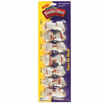 Dingo Double Meat Mini Rawhide Bones (3.7 oz) - 7 pack