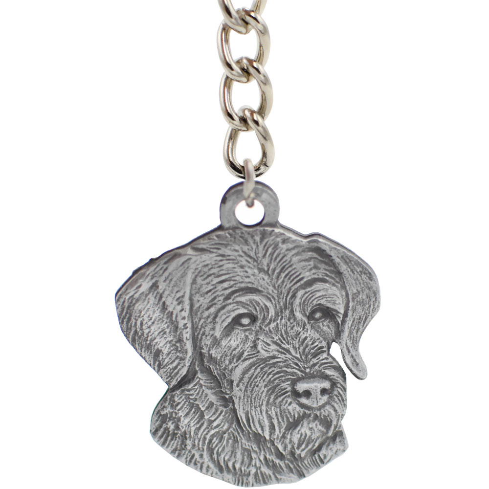 Dog Breed Keychain USA Pewter - German Wirehaired Pointer (2.5\