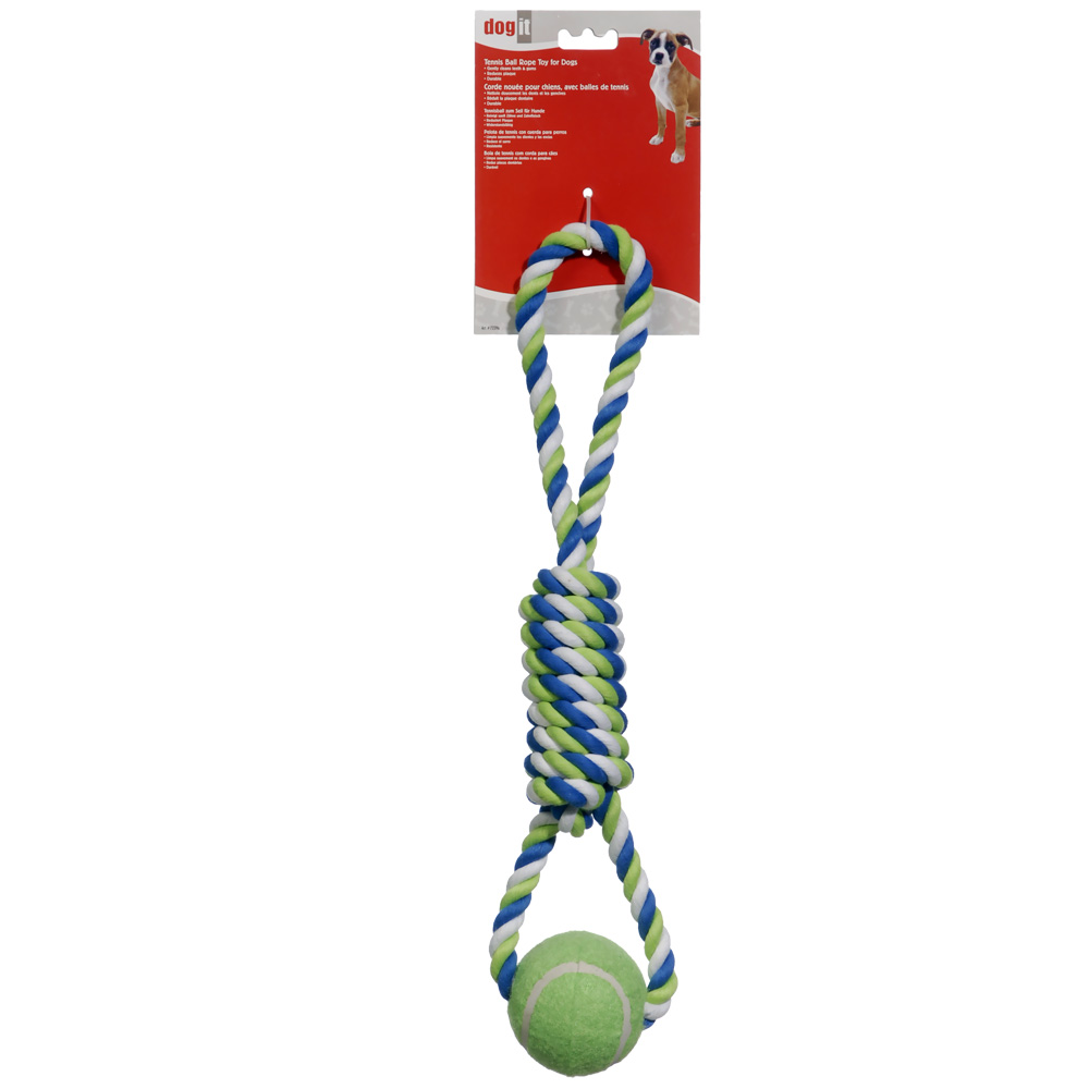 "Dogit Striped Rope Toy with Tennis Ball (18"")"