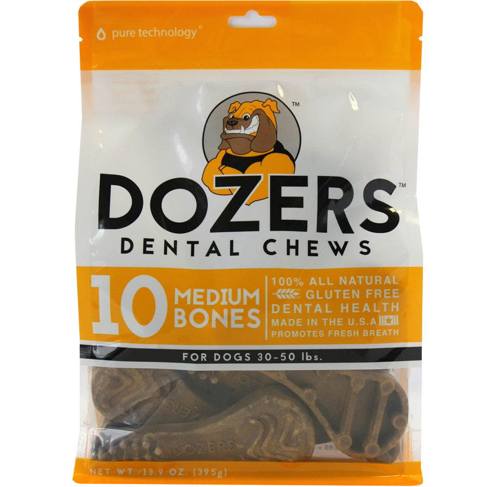 Dozers Dental Chews for Dogs 30-50 lbs (10 Medium Bones)