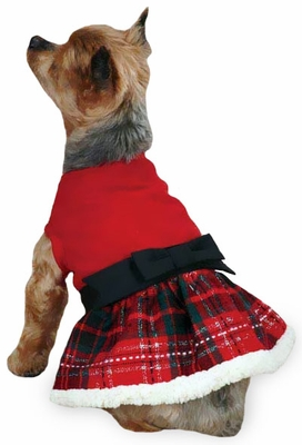 East Side Collection Yuletide Tartan Party Dress Small Red