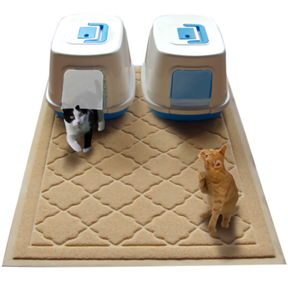 "Easyology Kitty Litter Cat Jumbo Mat (Beige) - 47"" x 36"""