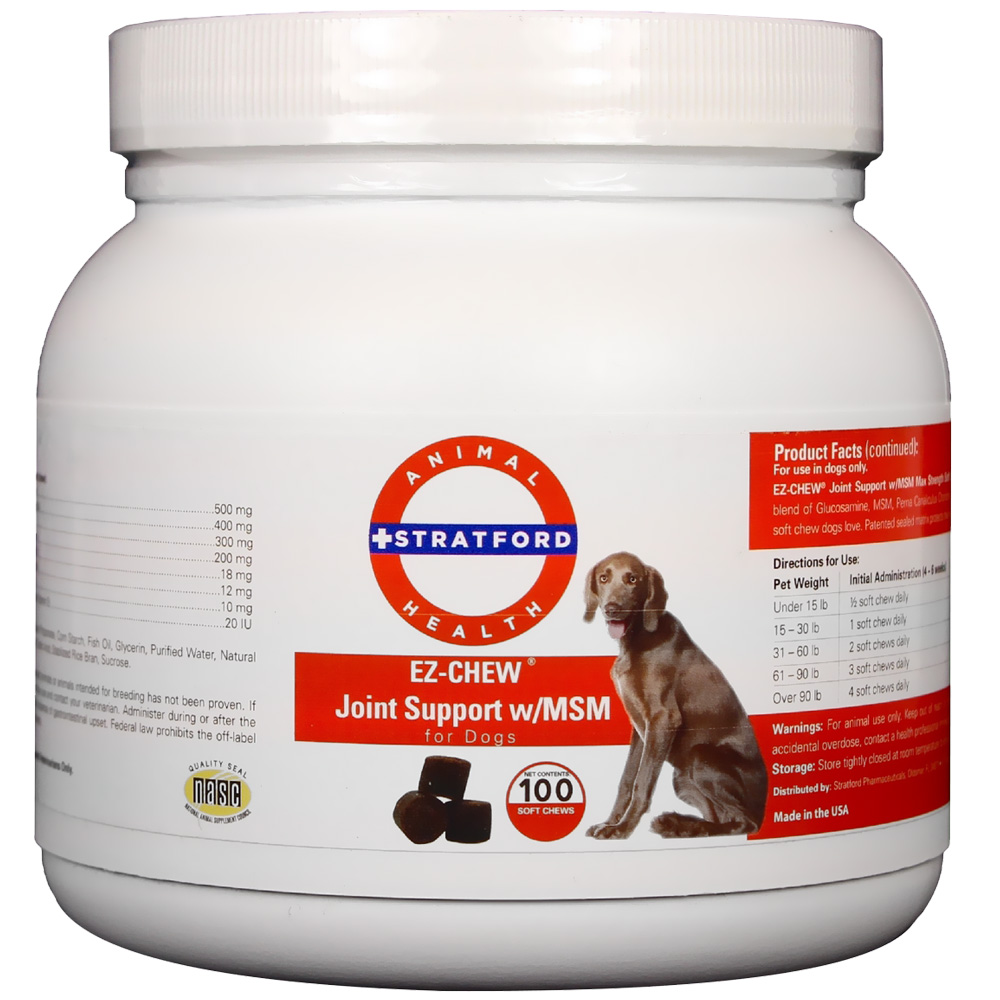 EZ-CHEW Joint Support with MSM for Dogs (100 soft chews)