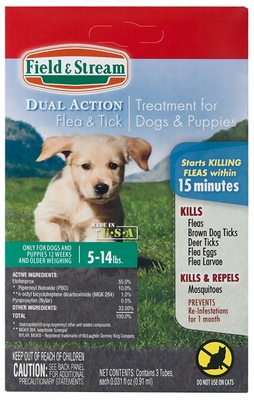 Field & Stream Dual Action Flea & Tick Drops for Dogs & Puppies 5-14 lbs