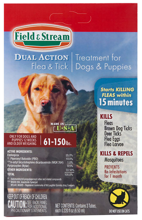 Field & Stream Dual Action Flea & Tick Drops for Dogs & Puppies 61-150 lbs
