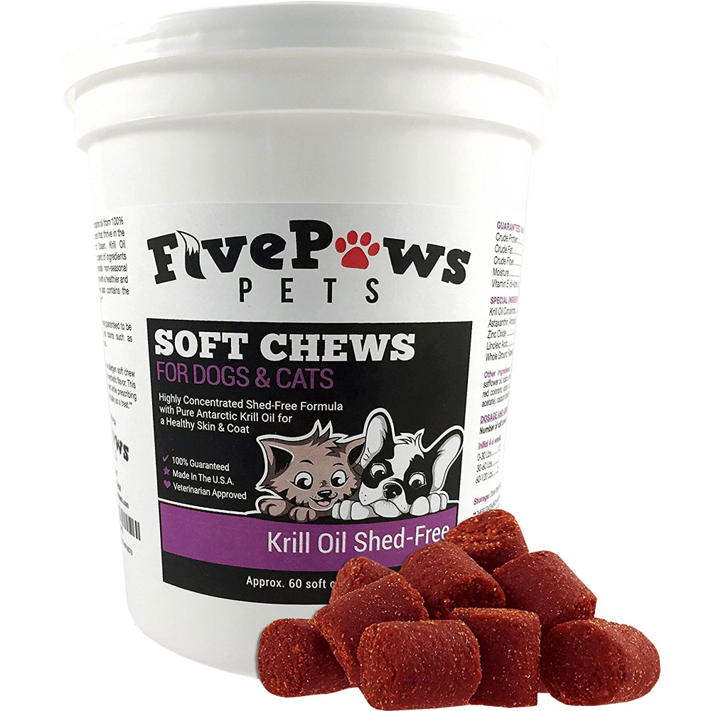 Five Paws Krill Oil Shed-Free for Dogs & Cats (60 Soft Chews)