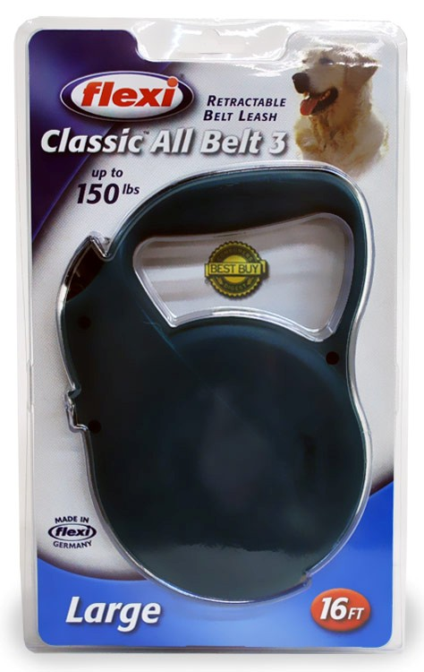 Flexi All-Belt 3 Retractable BELT Leash for Dogs up to 150 lbs. (GREEN)