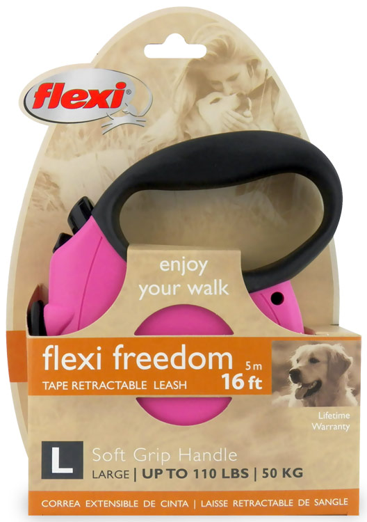 Flexi Freedom Tape Retractable Leash - Large 110 lbs. - Pink/Black 16 ft.
