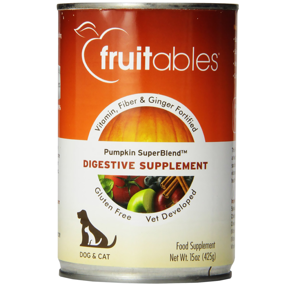 Fruitables Pumpkin Superblend Digestive Supplement Dogs & Cats Can Food (15 oz)