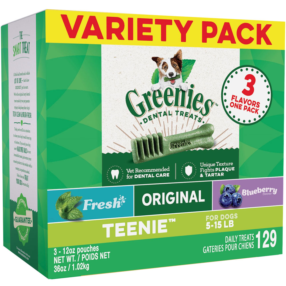 Greenies Dental Chews 3-Flavors Variety Pack - TEENIE 129 Treats (36 oz)