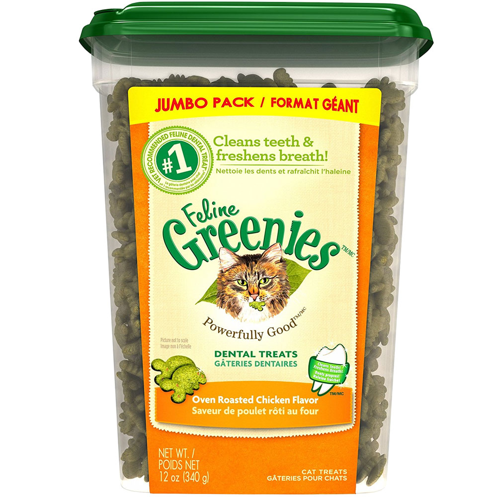 Greenies Feline Dental Treats - Oven Roasted Chicken Flavor (11 oz Tub)