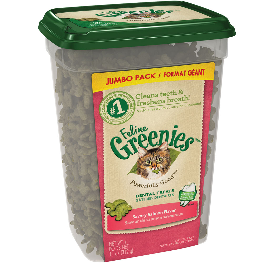 Greenies Feline Dental Treats - Savory Salmon Flavor (11 oz Tub)