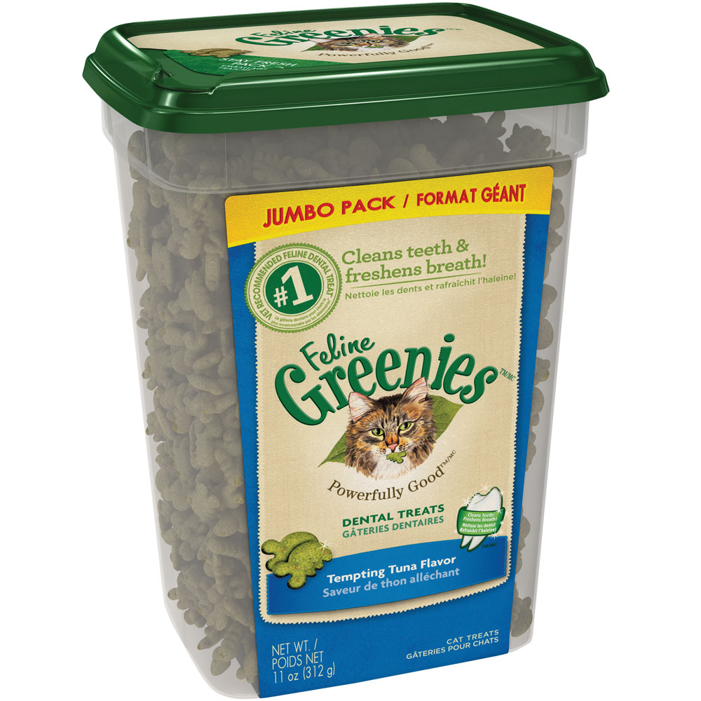 Greenies Feline Dental Treats - Tempting Tuna Flavor (11 oz Tub)
