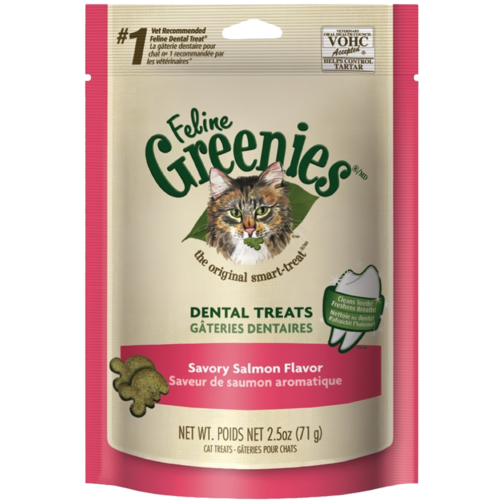 Greenies Feline Dental Treats - Savory Salmon Flavor (2.5 oz)