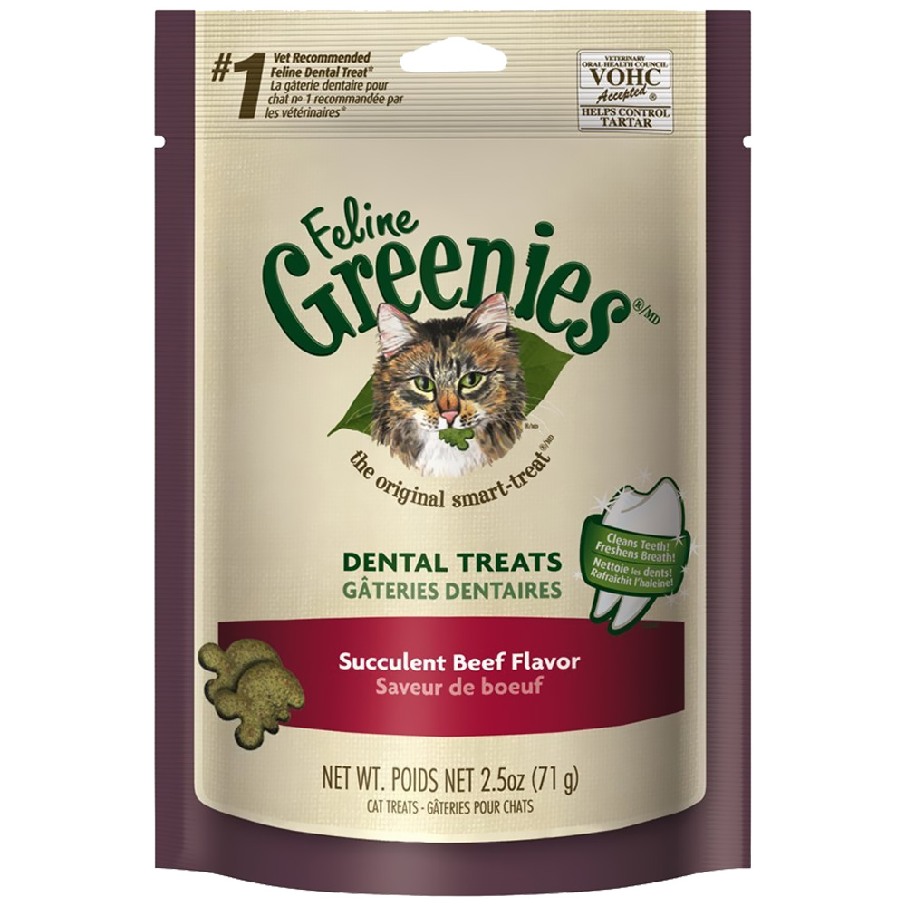 Greenies Feline Dental Treats - Succulent Beef Flavor (2.5 oz)