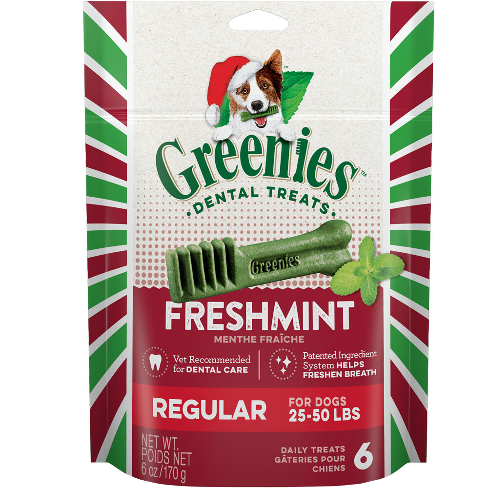 Greenies Holiday Dental Chews Freshmint - REGULAR 6 Treats (6 oz)