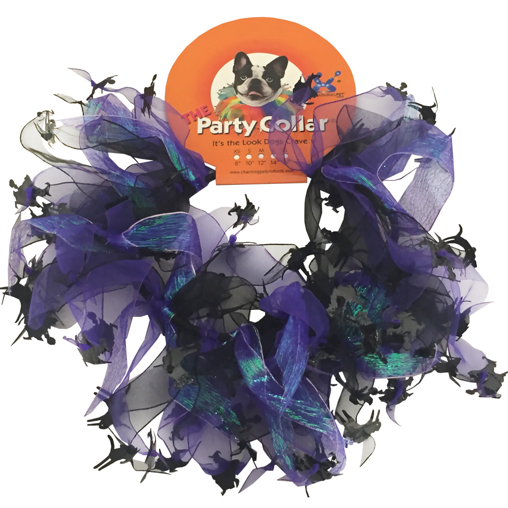 "Halloween Party Collar - Cats & Witch - Medium (12"")"
