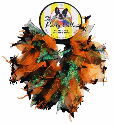 "Halloween Party Collar - Spider & Bats - Large (14"")"