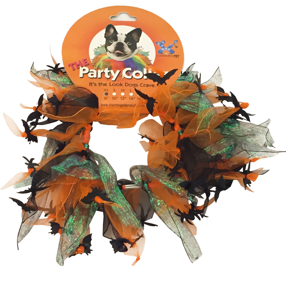 "Halloween Party Collar - Spider & Bats - XSmall (8"")"