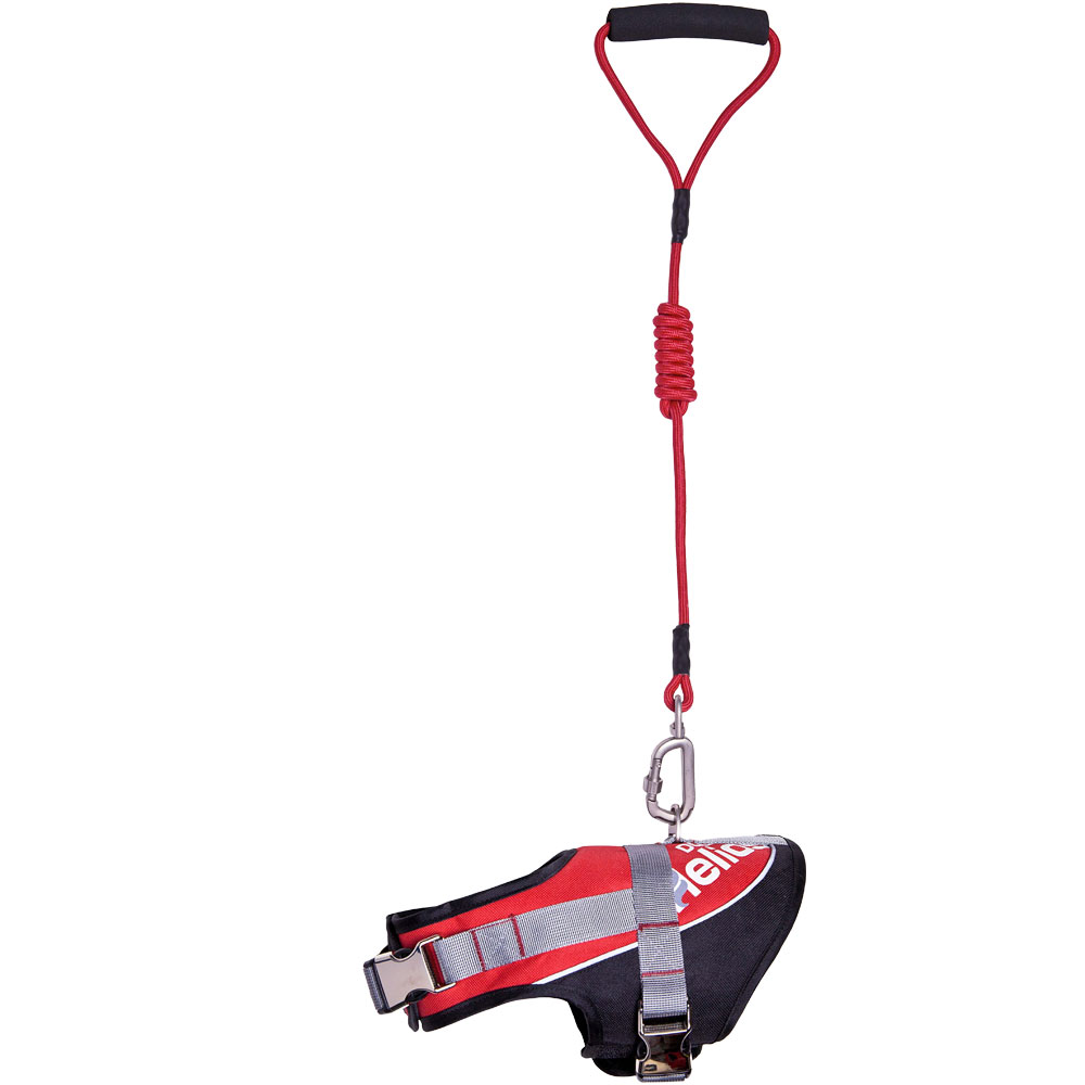 Helios Bark-Mudder Easy Tension 3M Reflective Endurance 2-in-1 Adjustable Dog Leash & Harness - Red (Small)