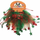 "Holiday Party Collar - Xmas Red & Green Stars - XSmall (8"")"
