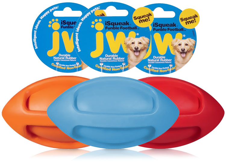 JW iSqueak Funble Football - Medium (Assorted)