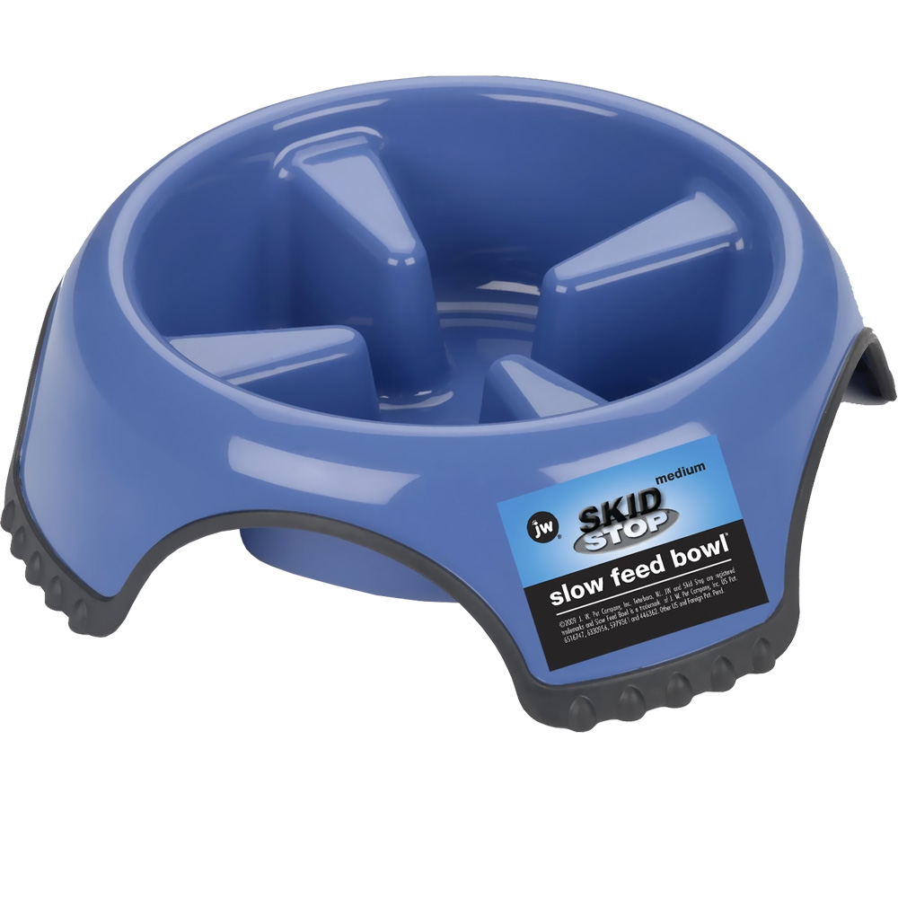 JW Pet Skid Stop Slow Feed Bowl (Medium) - Assorted