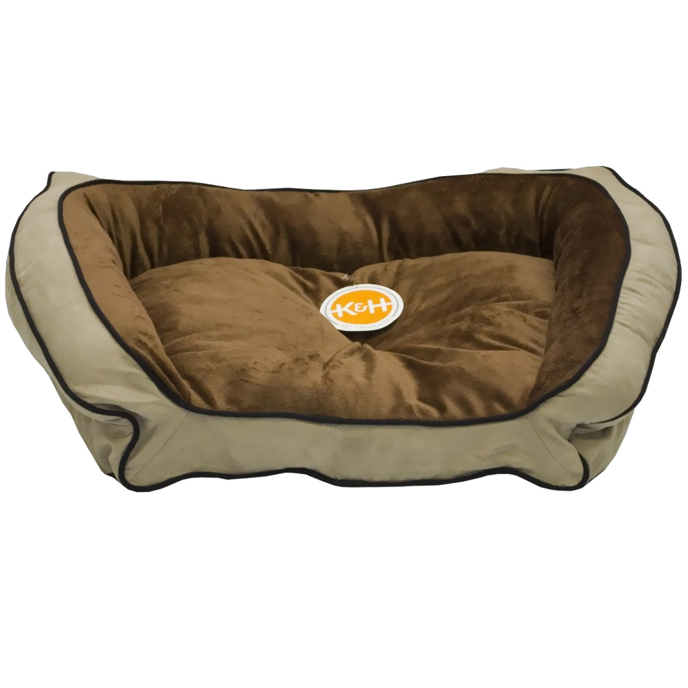 """K&H Bolster Couch Pet Bed Mocha/Tan - Large (28""""x40"""")"""