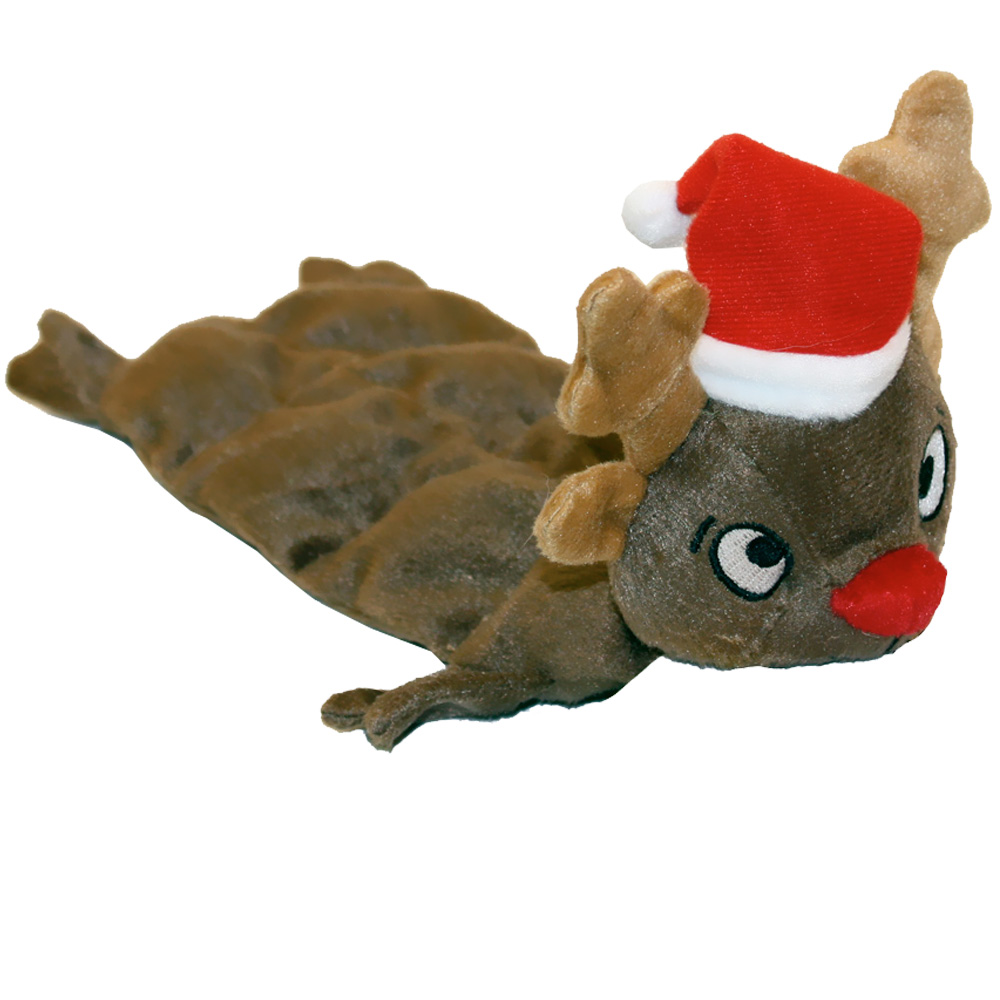 Kyjen Squeaker Mats - Medium Reindeer with Santa Hat